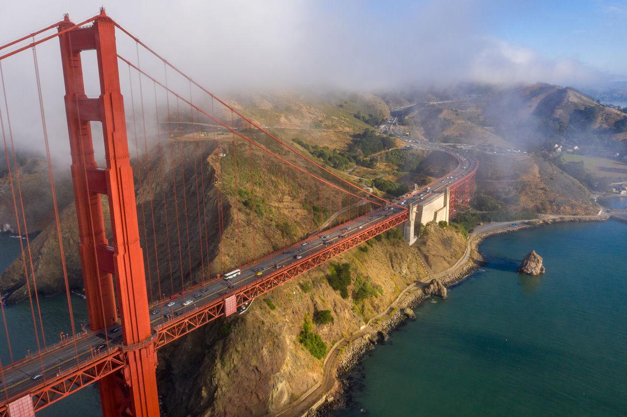 Panoramic view of suspension bridge over sea