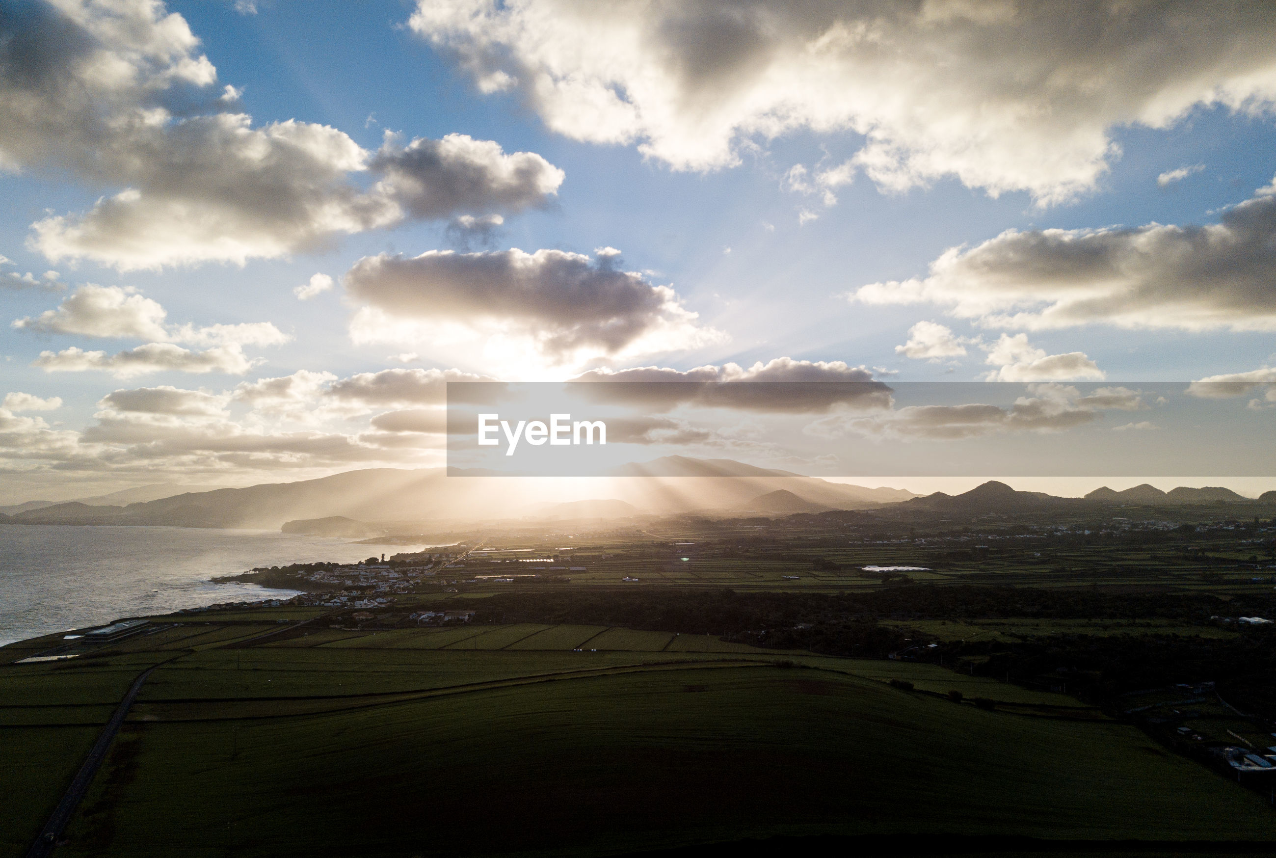 Scenic drone view of landscape against sky