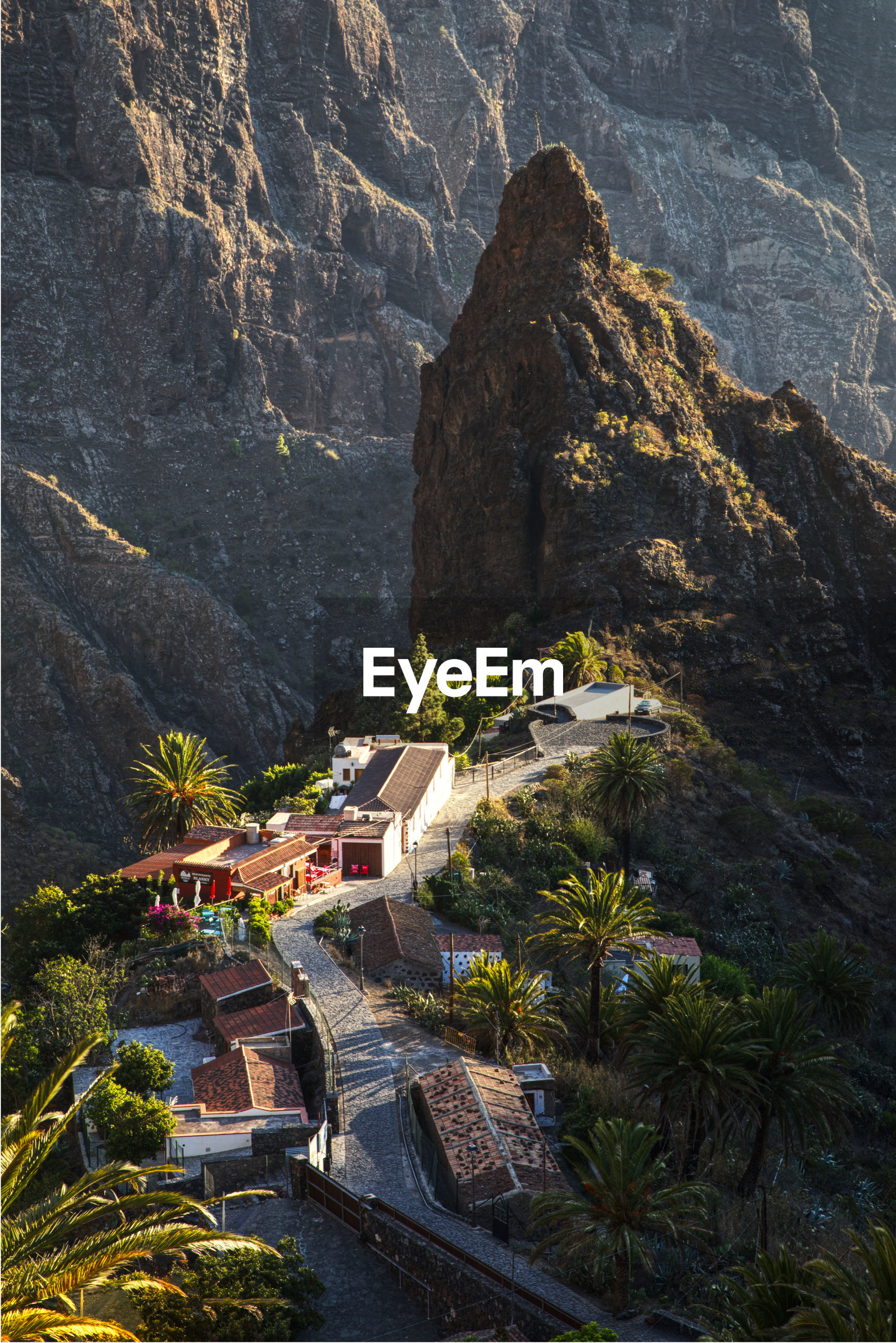 High angle view of house on mountains