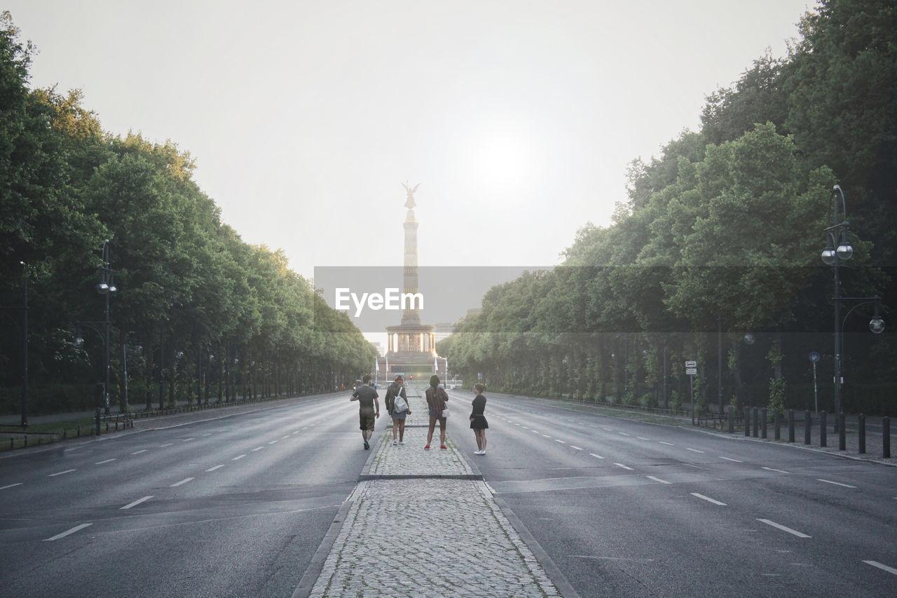 People Standing On Road Before Berlin Victory Column