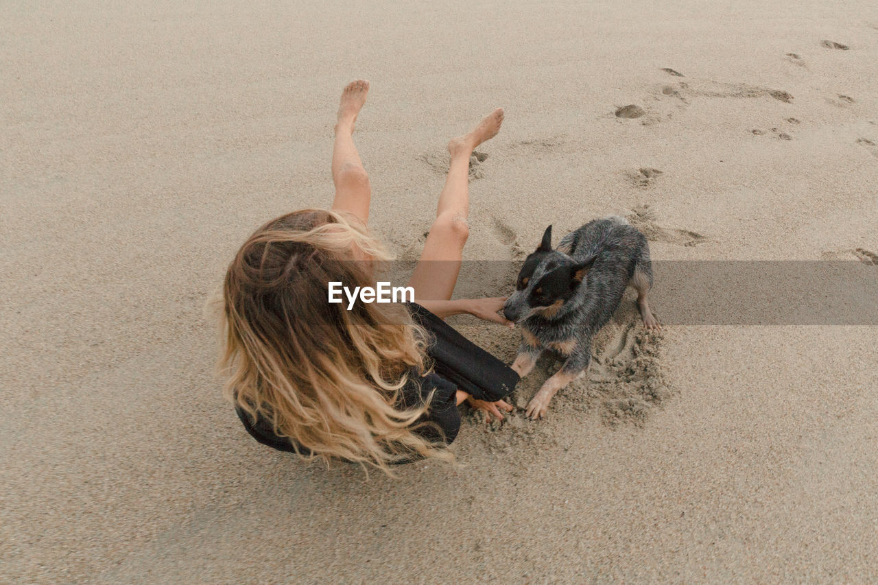 High angle view of woman playing with dog on sand at beach
