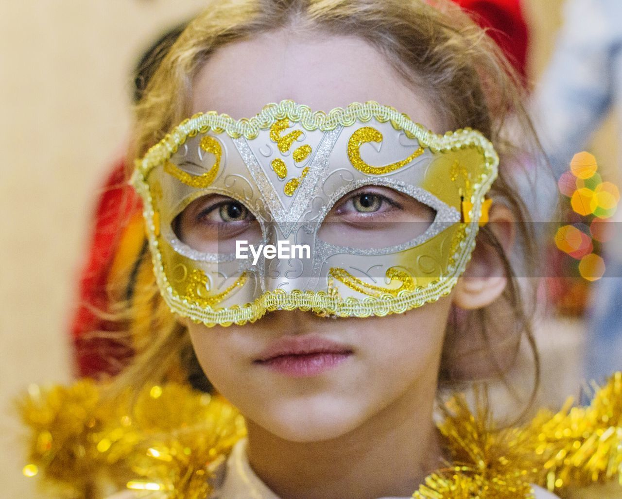 Close-Up Portrait Of Girl Wearing Mask