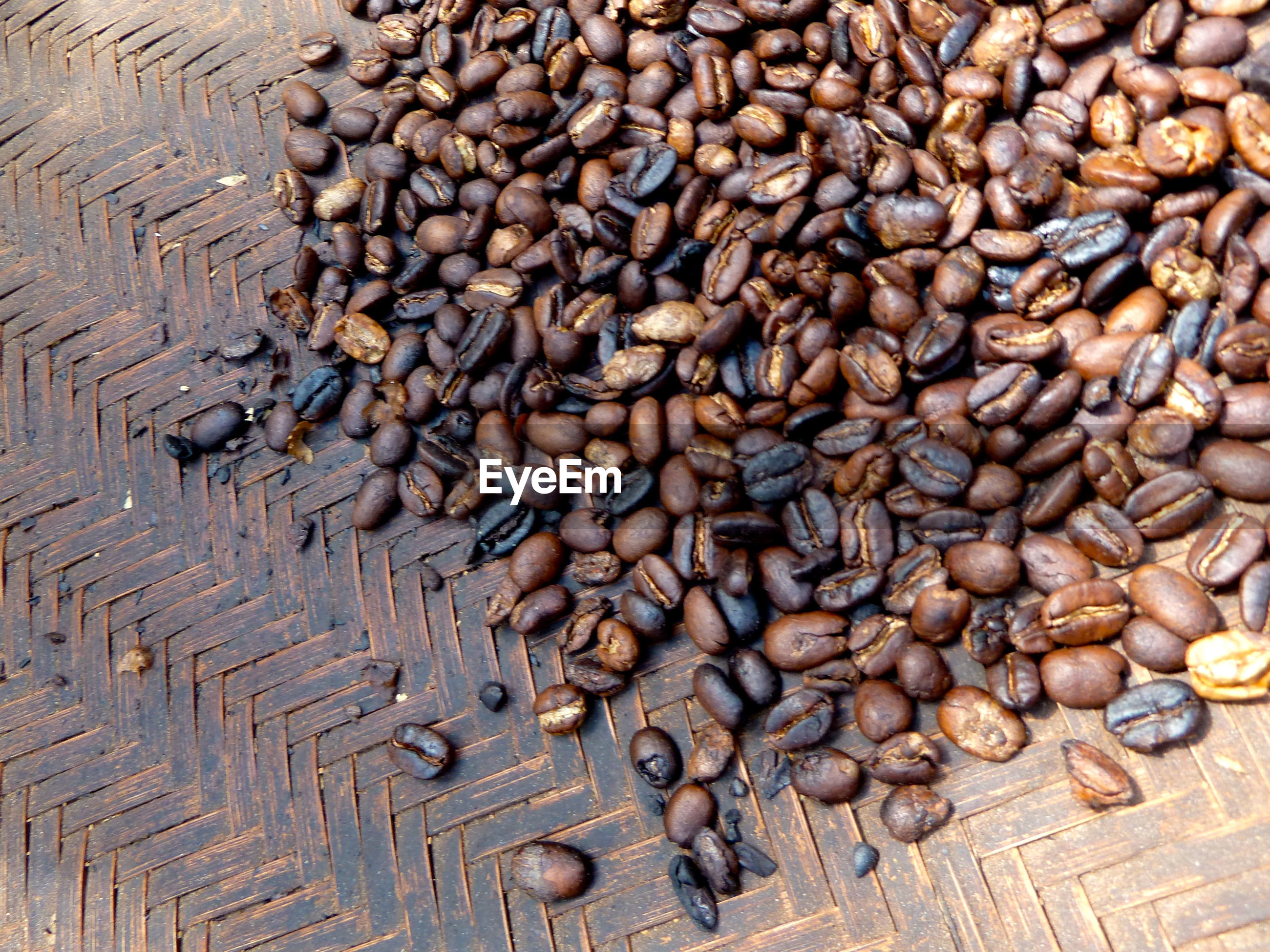 HIGH ANGLE VIEW OF COFFEE BEANS IN BACKGROUND