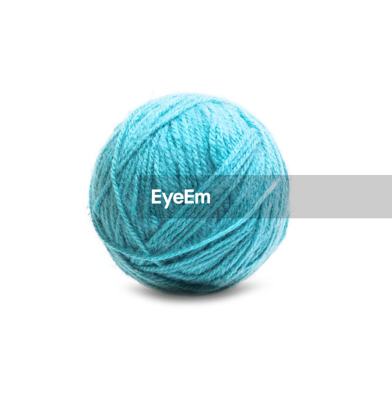 ball of wool, wool, knitting, sphere, white background, studio shot, ball, knitting needle, multi colored, close-up, no people