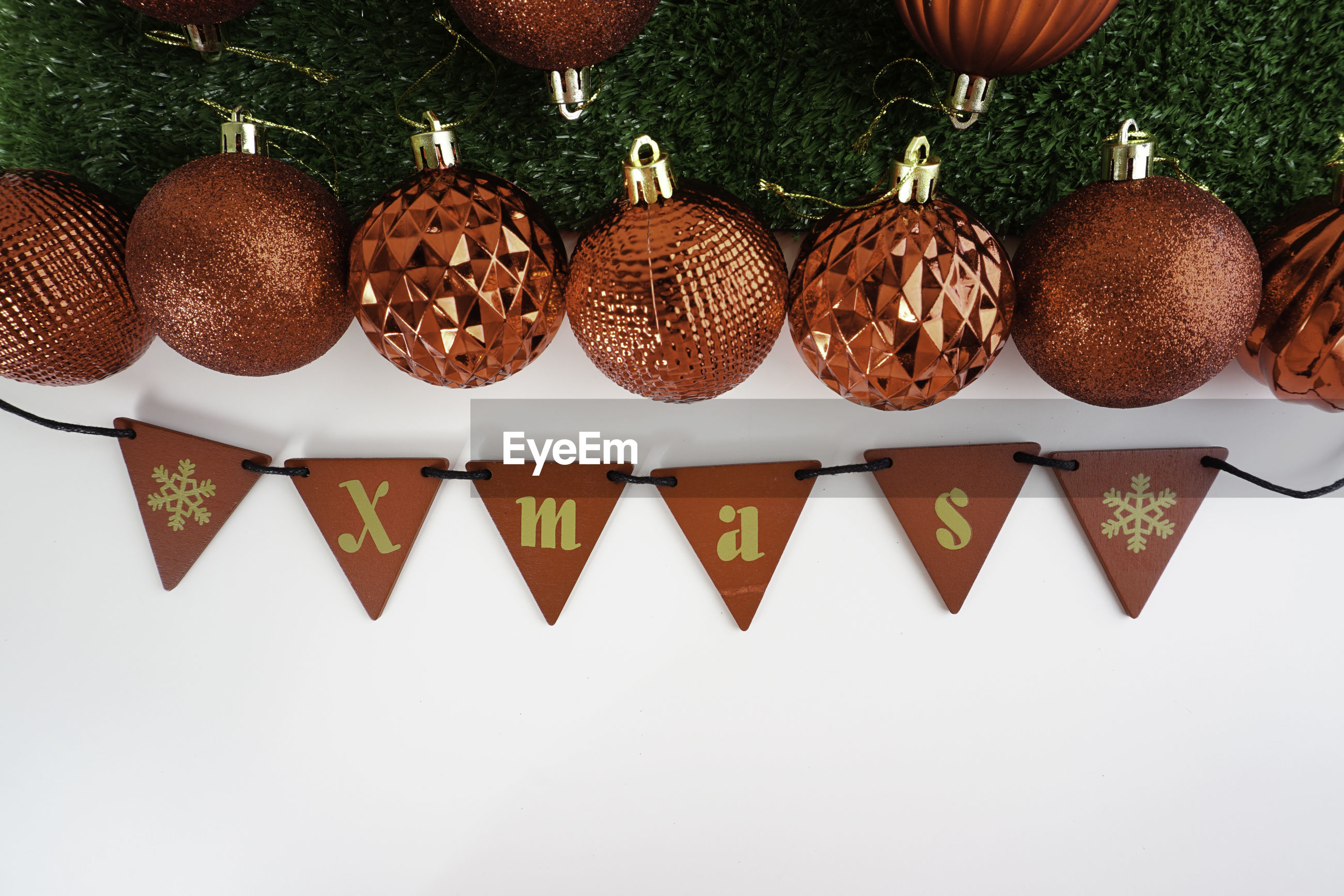 Directly above shot of christmas decoration on white background
