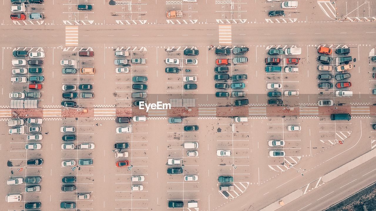 Aerial View Of Cars Parked