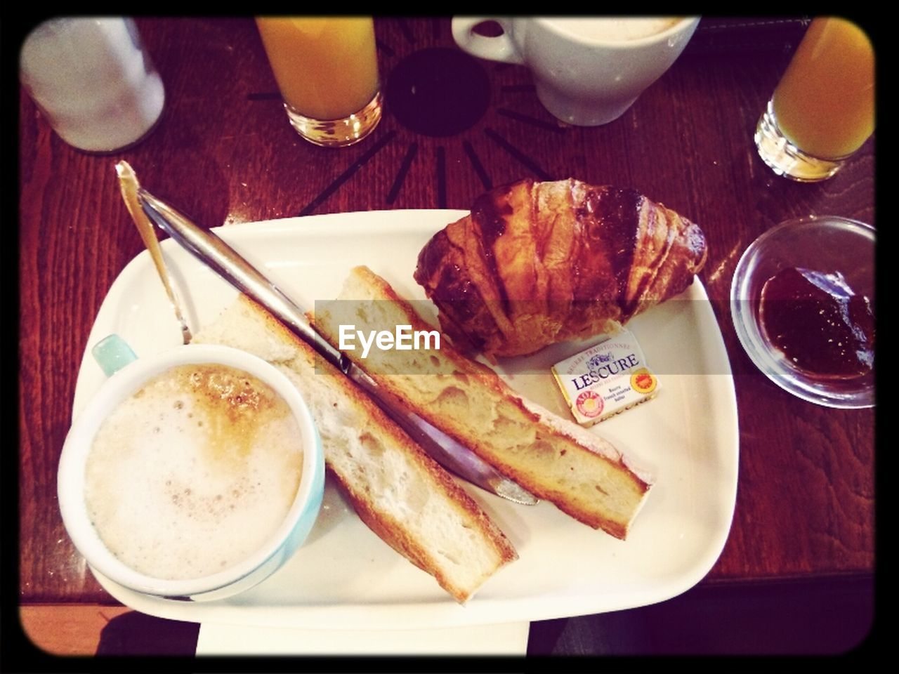 food and drink, plate, food, table, drink, bread, breakfast, indoors, ready-to-eat, freshness, refreshment, meal, fork, no people, close-up, drinking glass, healthy eating, sandwich, toasted bread, day