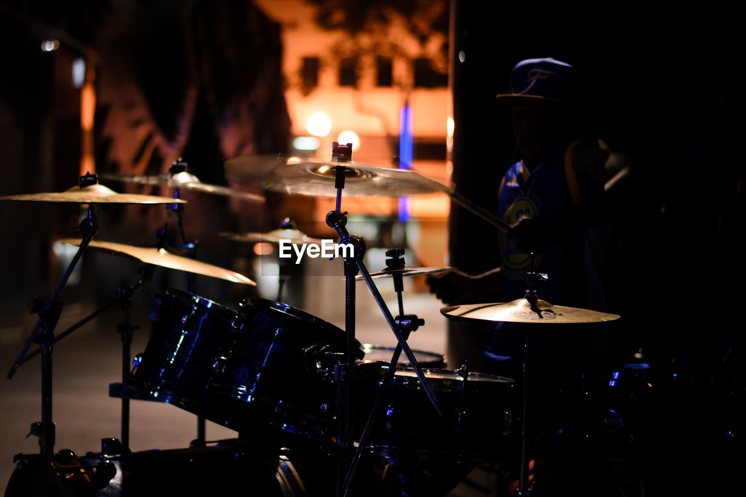 Drum kit on stage during popular music concert