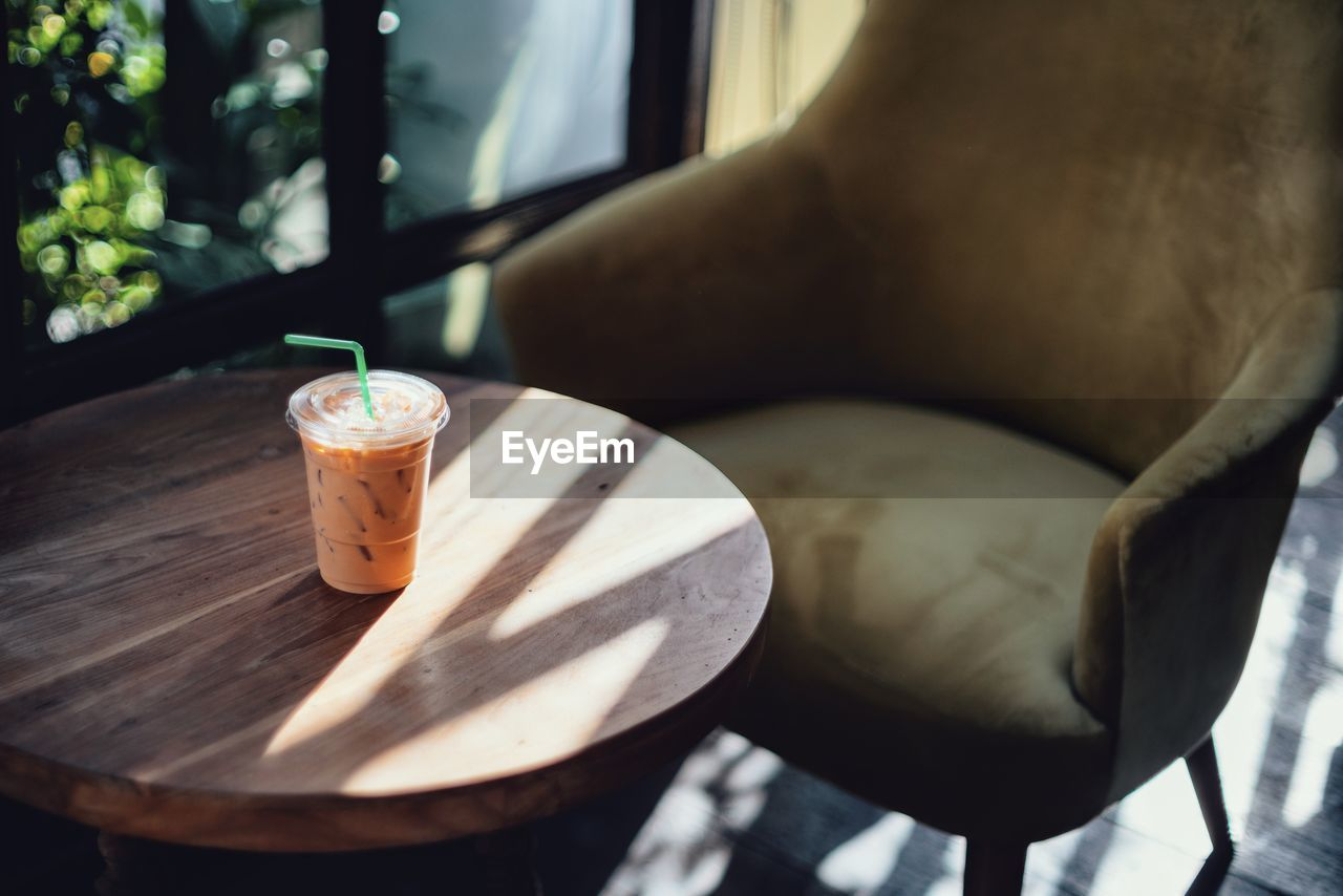 High Angle View Of Drink On Table In Restaurant