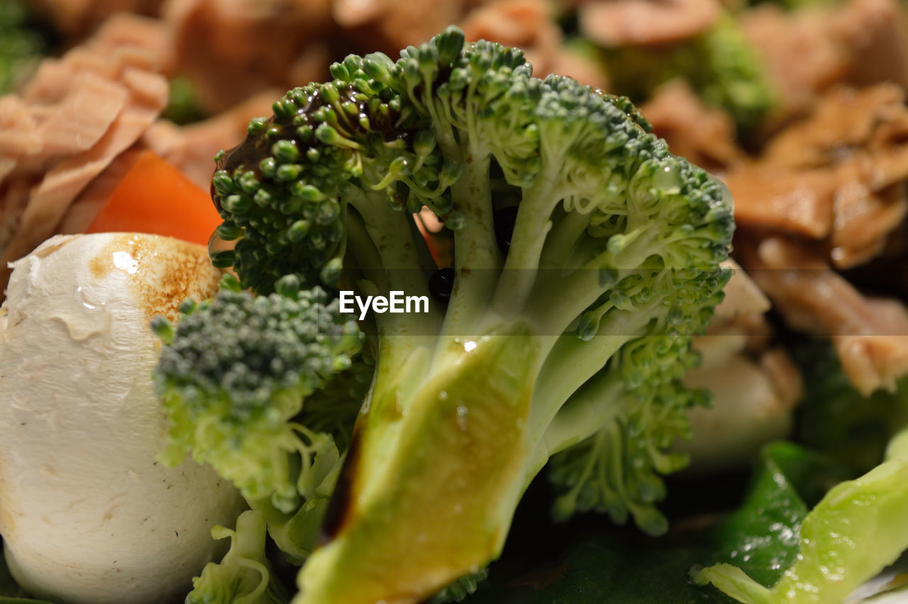 Close-Up Of Broccoli With Food