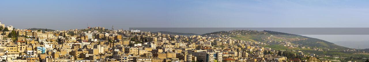 Jerash, jordan, panoramic cityscape of the skyline of the jordanian city of jerash