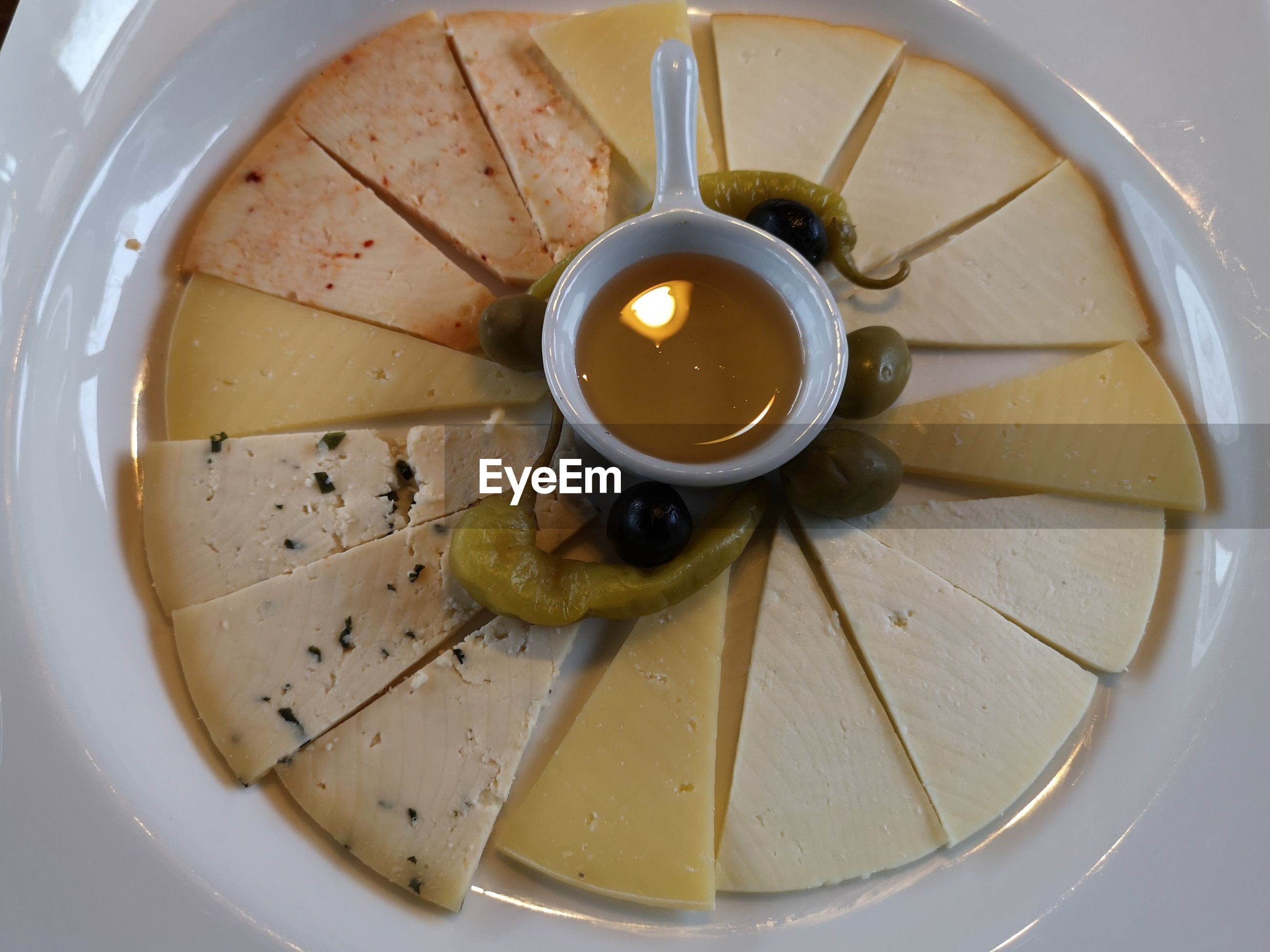 High angle view of cheese in bowl on table