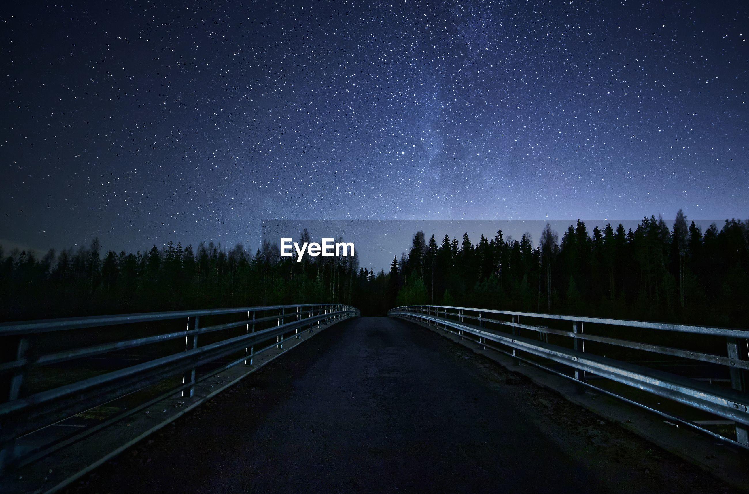 Empty road at night