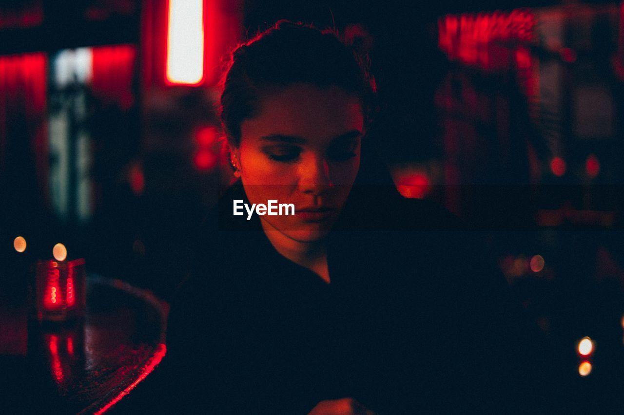 Close-Up Of Woman At Night Club
