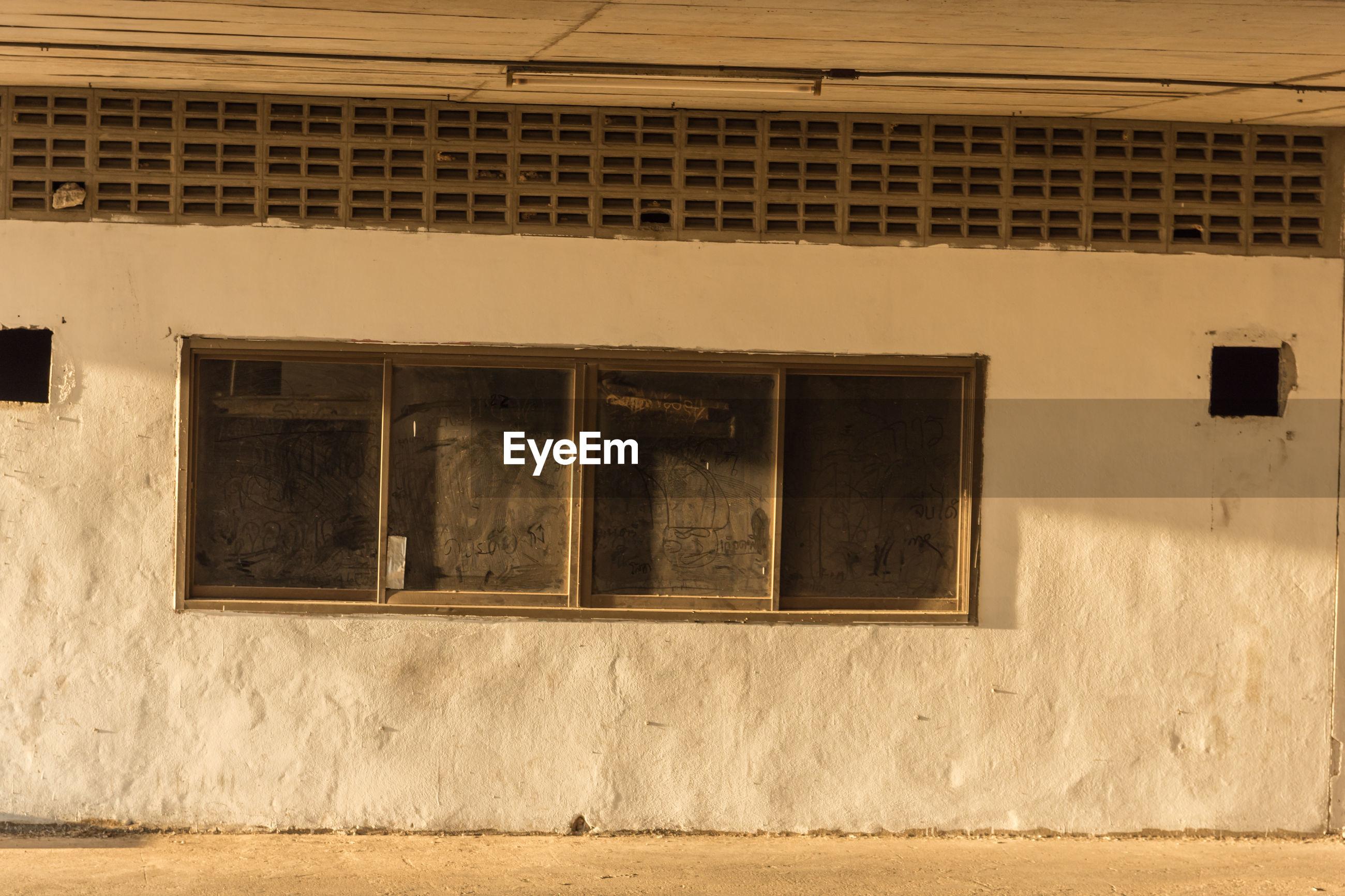 Closed windows in building