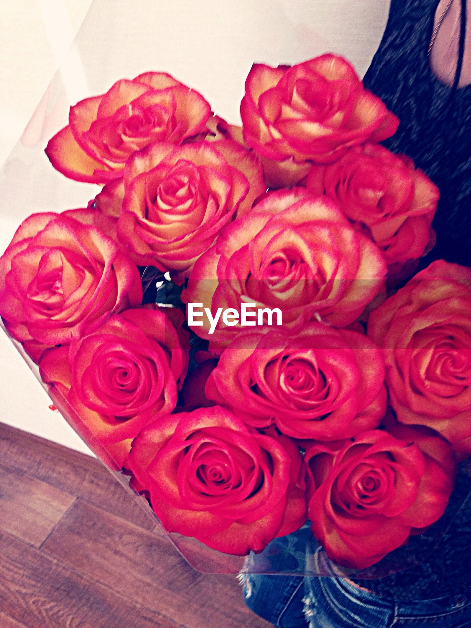 flower, rose - flower, petal, freshness, indoors, fragility, red, rose, flower head, bouquet, beauty in nature, high angle view, close-up, pink color, vase, bunch of flowers, nature, no people, table, flower arrangement