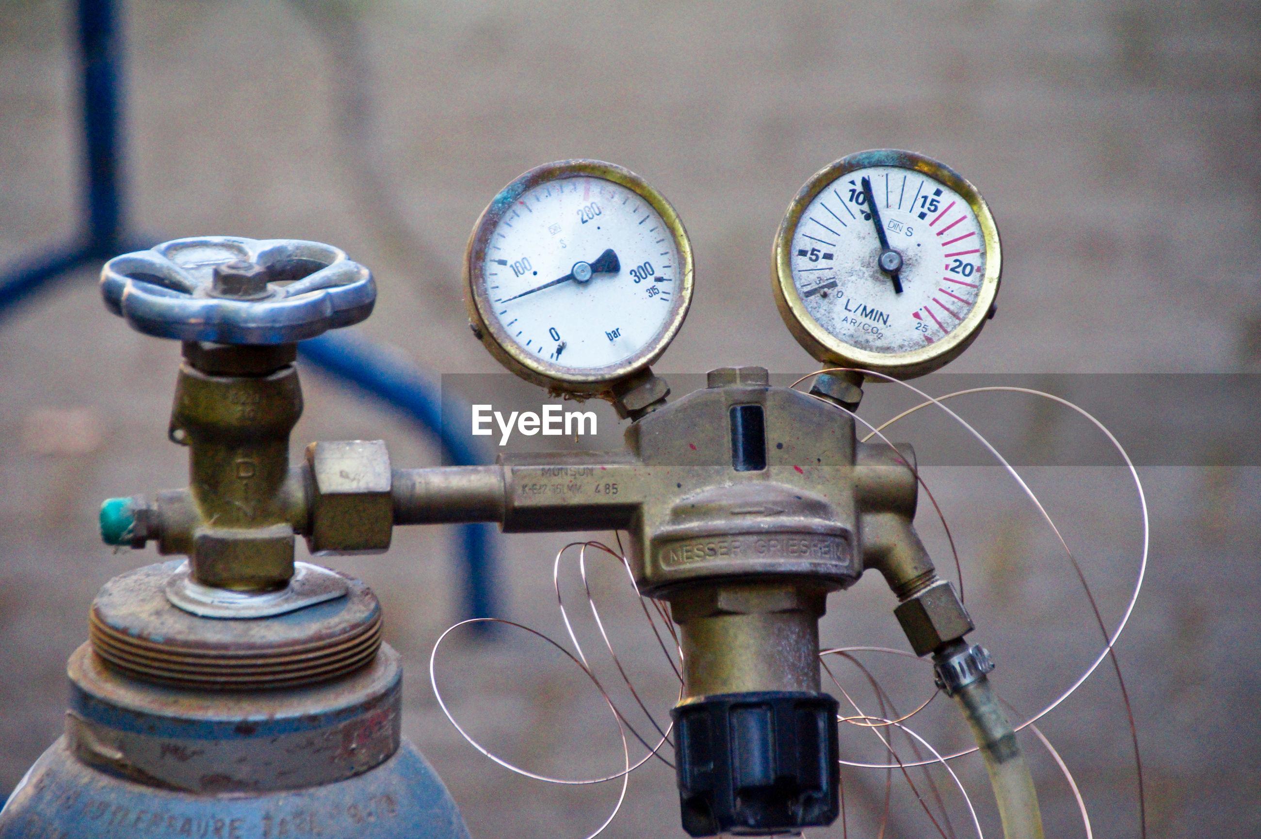 Close-up of machine valve and
