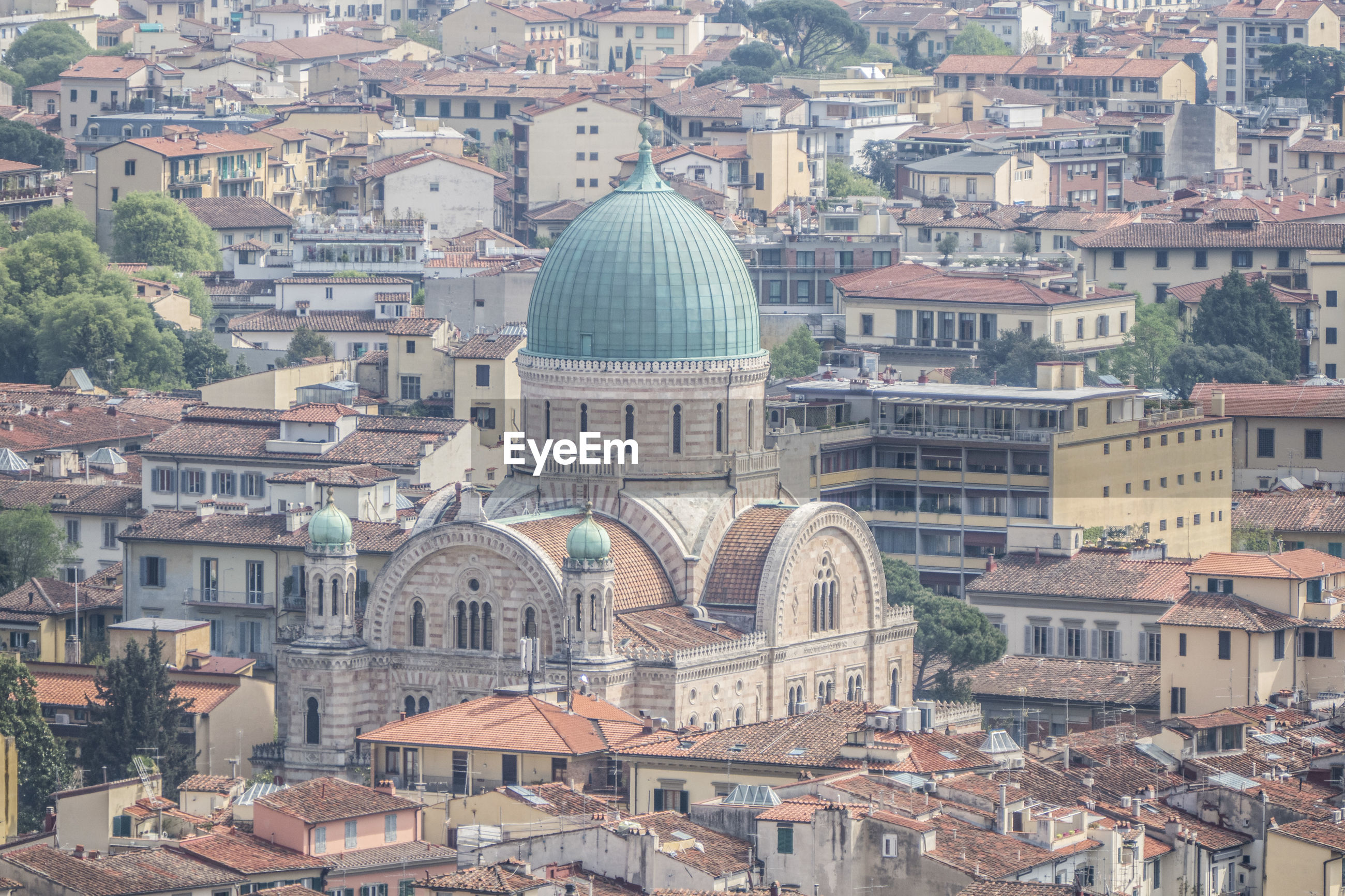 Synagogue of florence seen from above