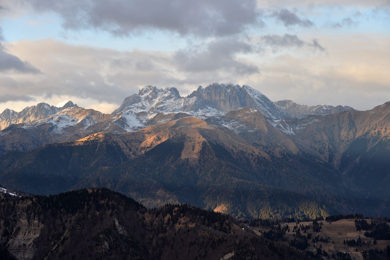 mountain, sky, beauty in nature, scenics - nature, landscape, environment, cloud - sky, mountain range, tranquil scene, nature, tranquility, no people, non-urban scene, snow, mountain peak, idyllic, cold temperature, winter, outdoors, snowcapped mountain, range