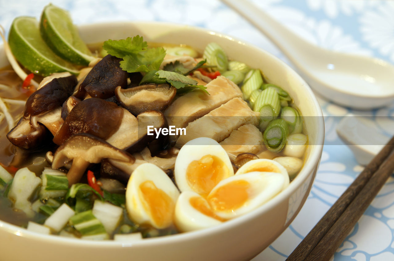 Close-Up Of Ramen Noodles In Bowl On Table