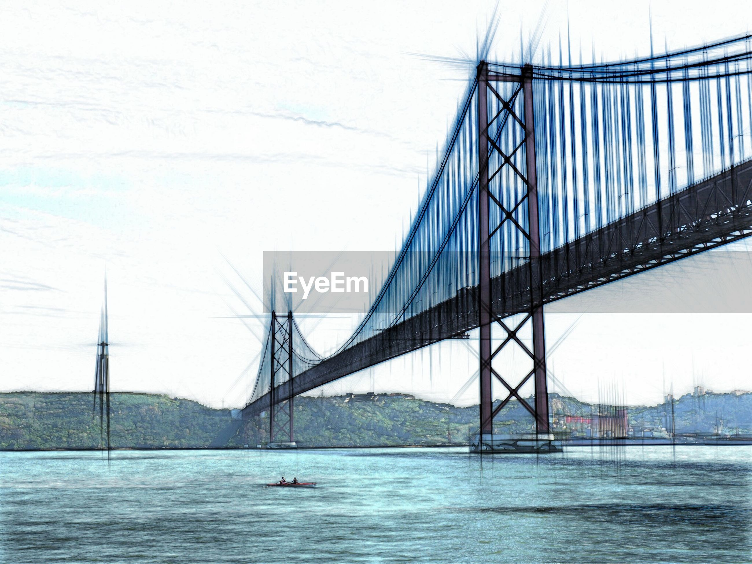SUSPENSION BRIDGE OVER RIVER WITH BRIDGE