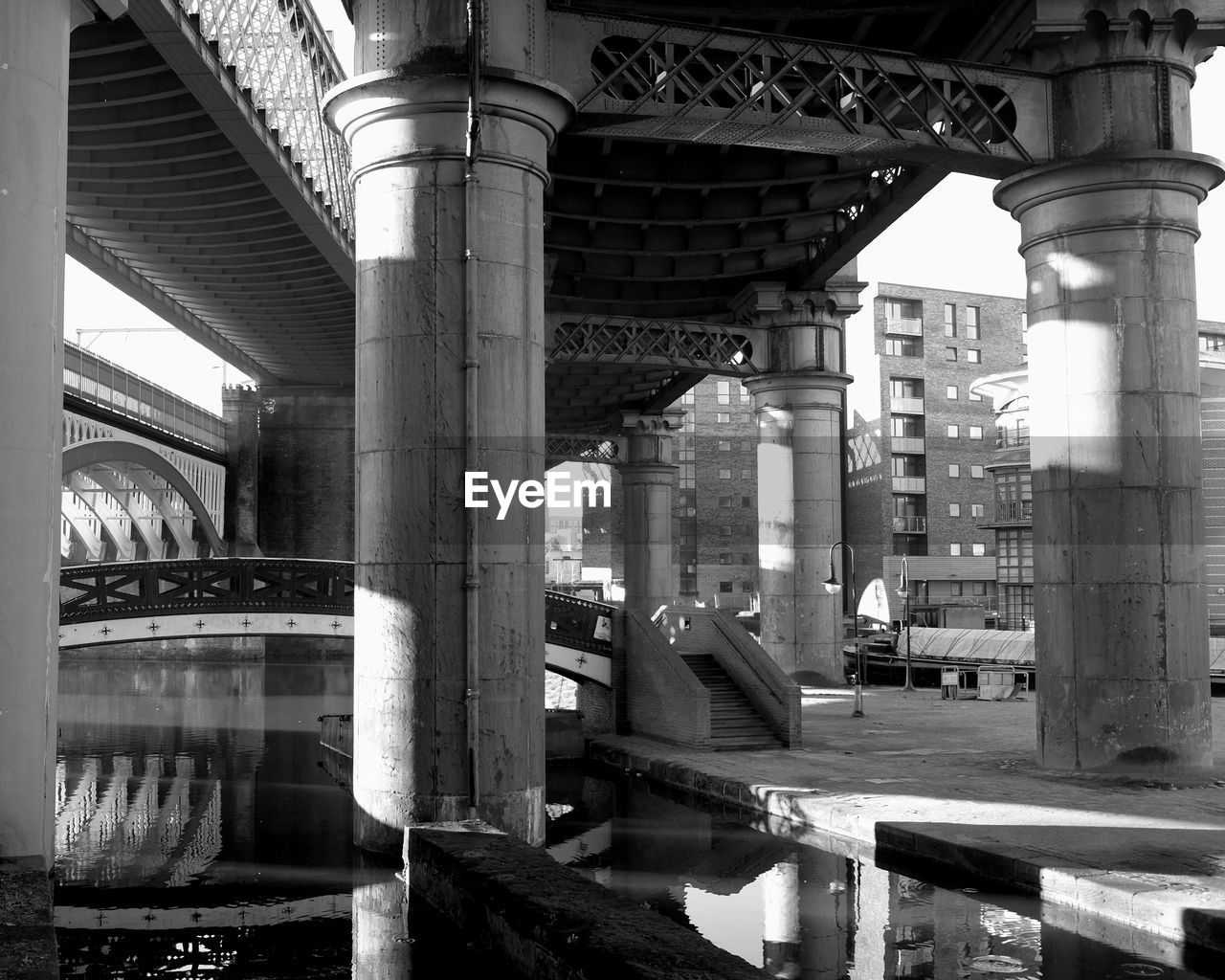 architecture, architectural column, built structure, bridge - man made structure, connection, pillar, transportation, below, underneath, day, no people, outdoors, city