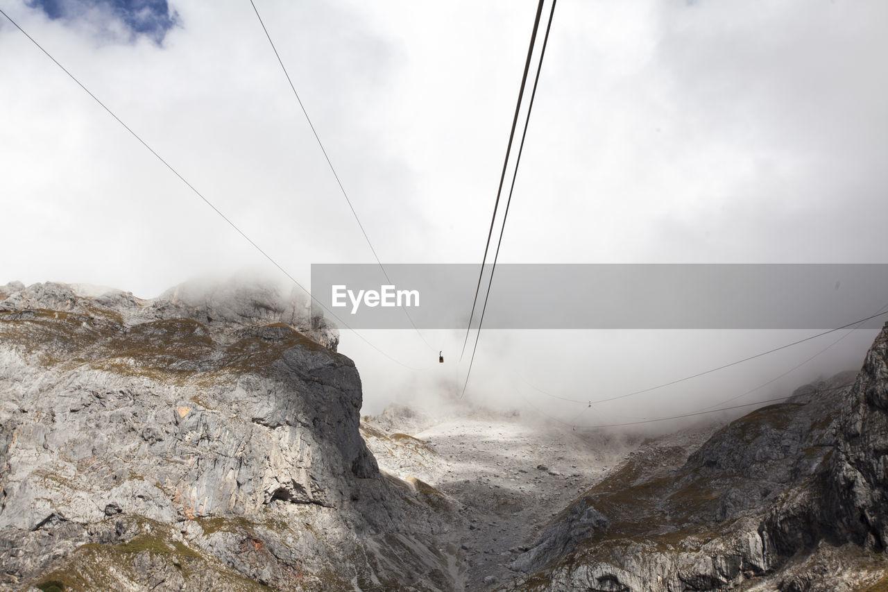 Cables above rocky landscape