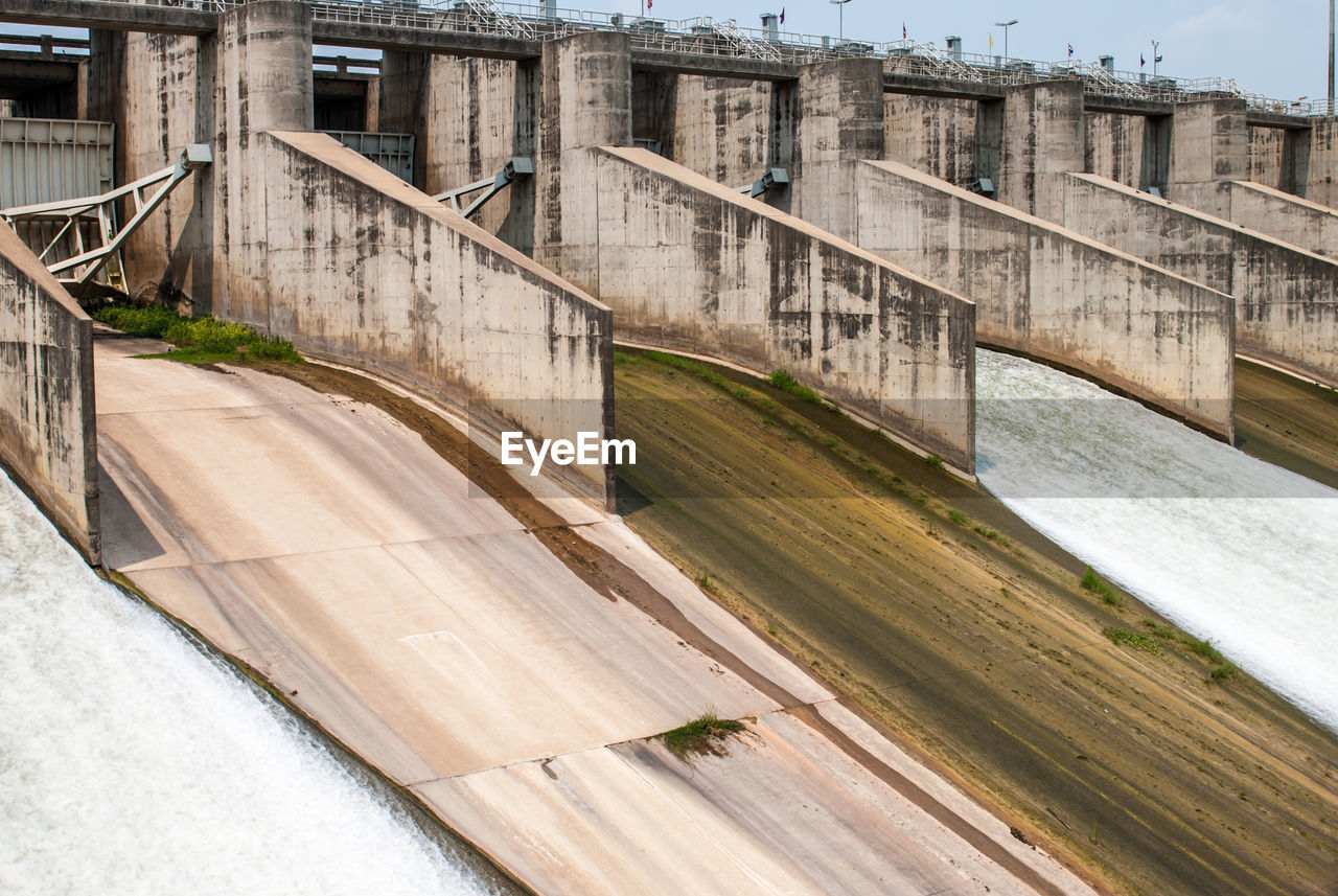 TILT IMAGE OF DAM ON BRIDGE BY WATER