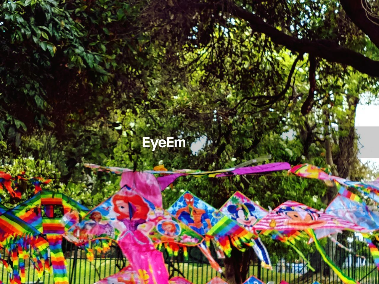 tree, plant, multi colored, nature, hanging, low angle view, day, no people, outdoors, decoration, growth, branch, celebration, fun, creativity, focus on foreground, art and craft, sunlight, event, park - man made space