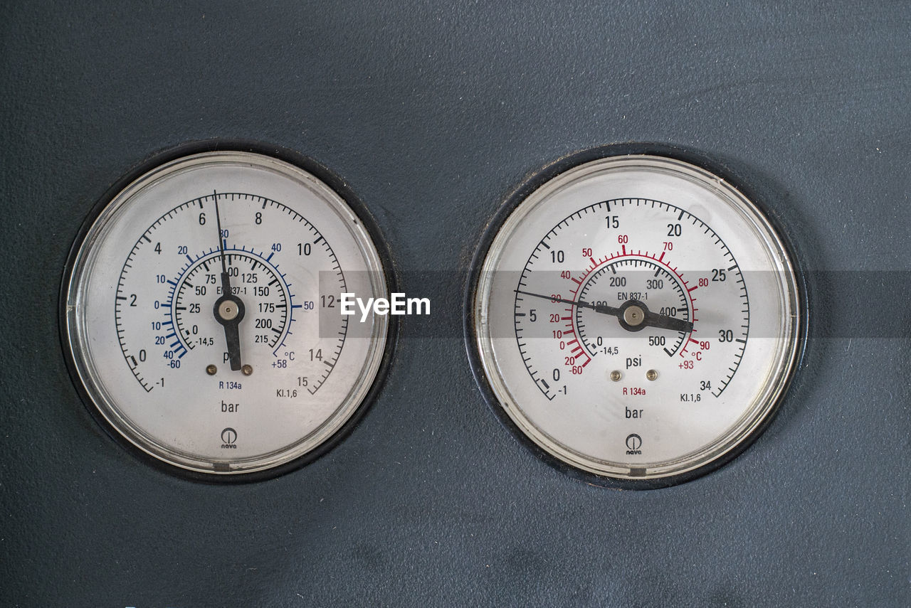 High angle view of clock