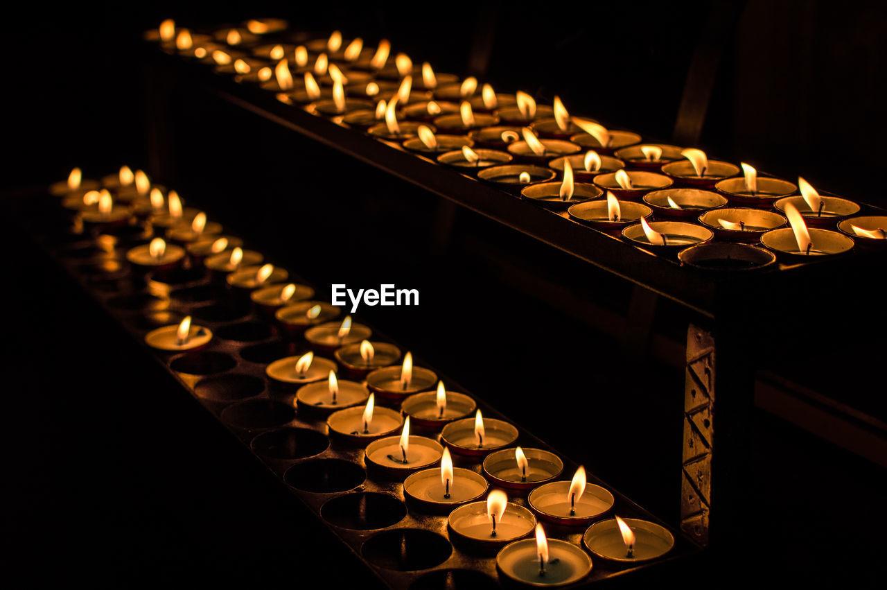 Close-Up Of Burning Diyas During Diwali