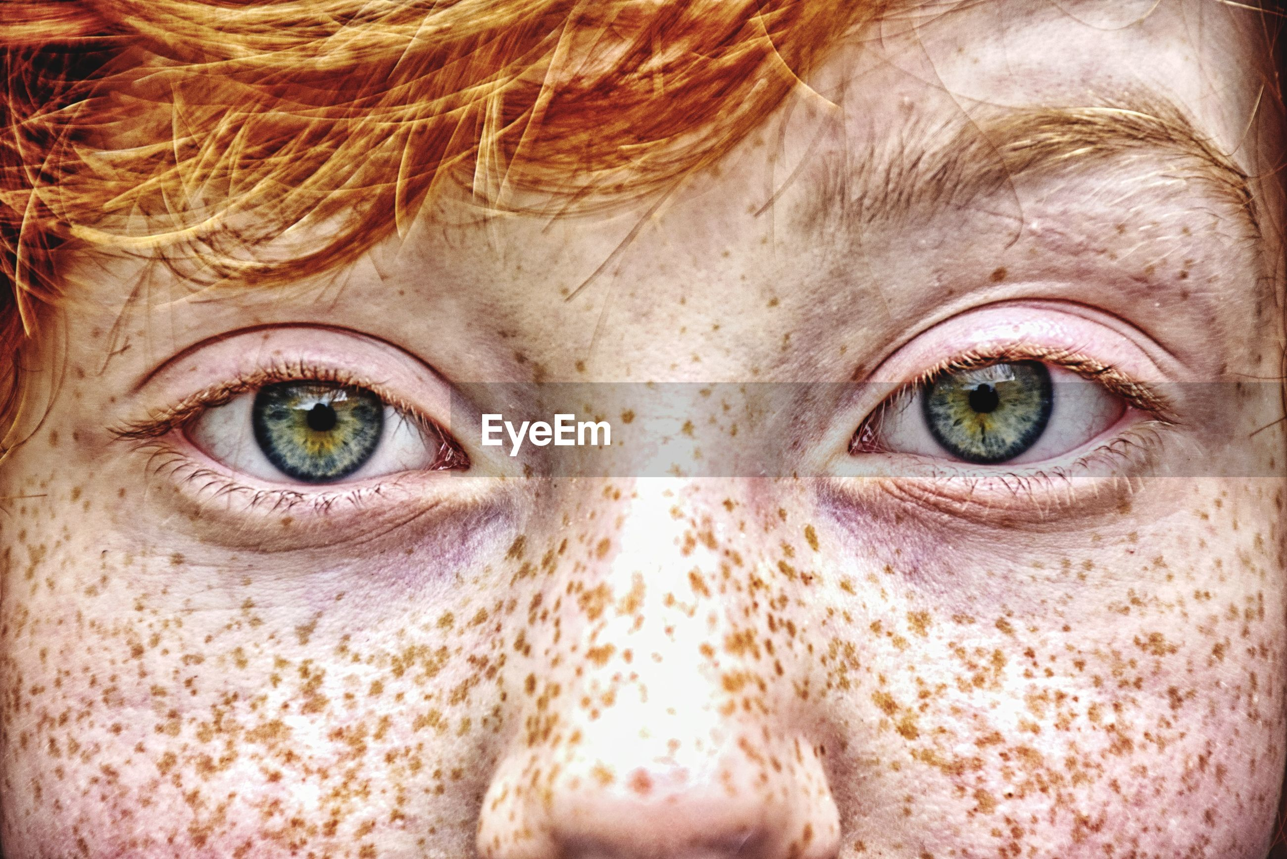 Close-up portrait of boy with freckles