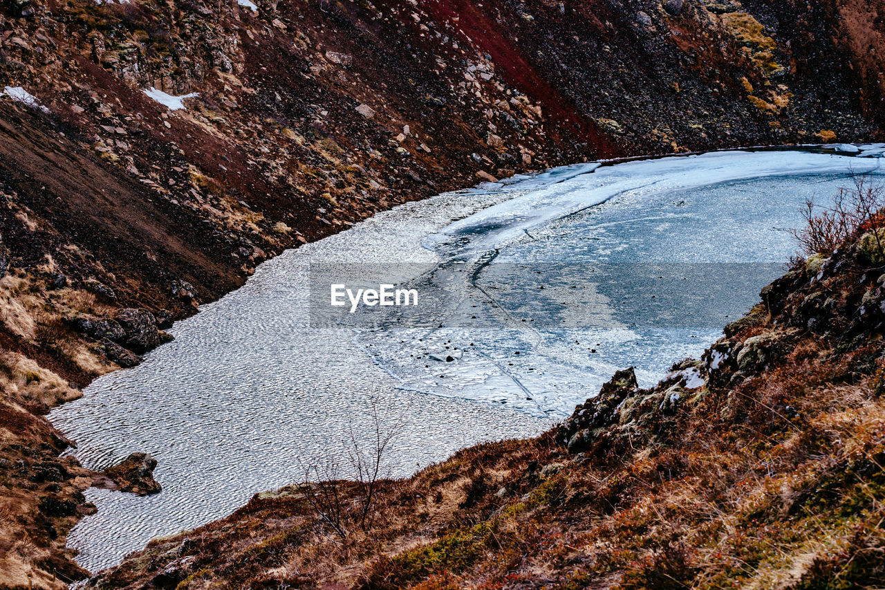 High Angle View Of Frozen Crater Lake