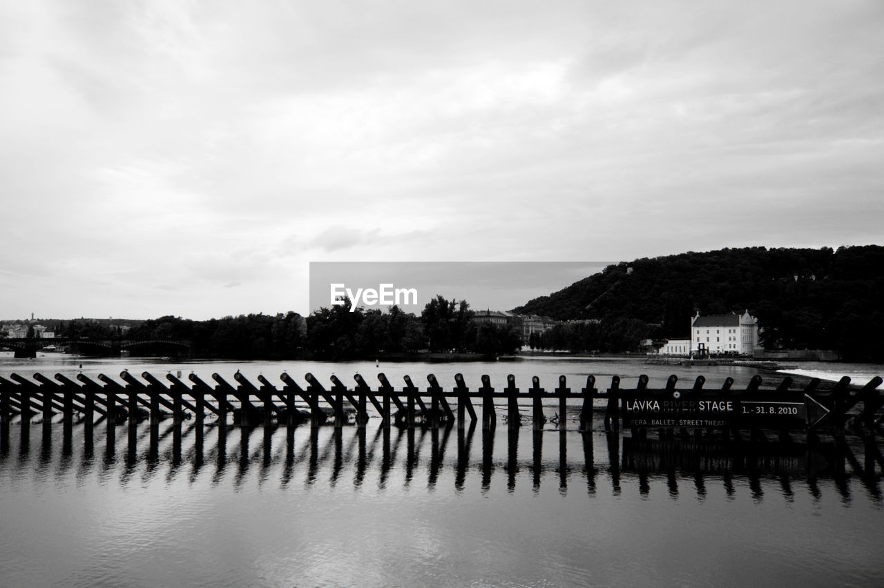 water, in a row, sky, sea, no people, outdoors, tranquility, cloud - sky, nautical vessel, day, mountain, moored, nature, scenics, wooden post, beauty in nature, architecture, groyne