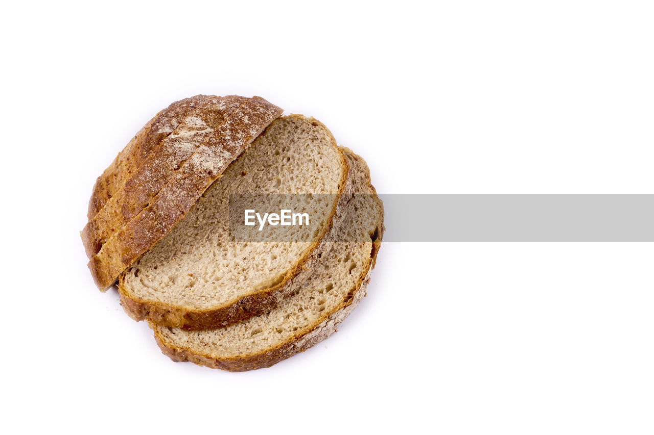 bread, white background, cut out, food and drink, loaf of bread, food, baked, wholegrain, studio shot, whole wheat, healthy eating, carbohydrate - food type, brown, no people, brown bread, wheat, freshness, close-up, bun, breakfast, cereal plant, stack, sliced bread, rye - grain