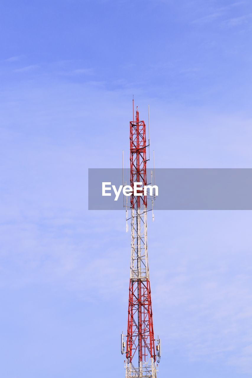 sky, architecture, communication, built structure, technology, global communications, tall - high, low angle view, tower, day, no people, metal, nature, wireless technology, connection, broadcasting, blue, outdoors, satellite, station