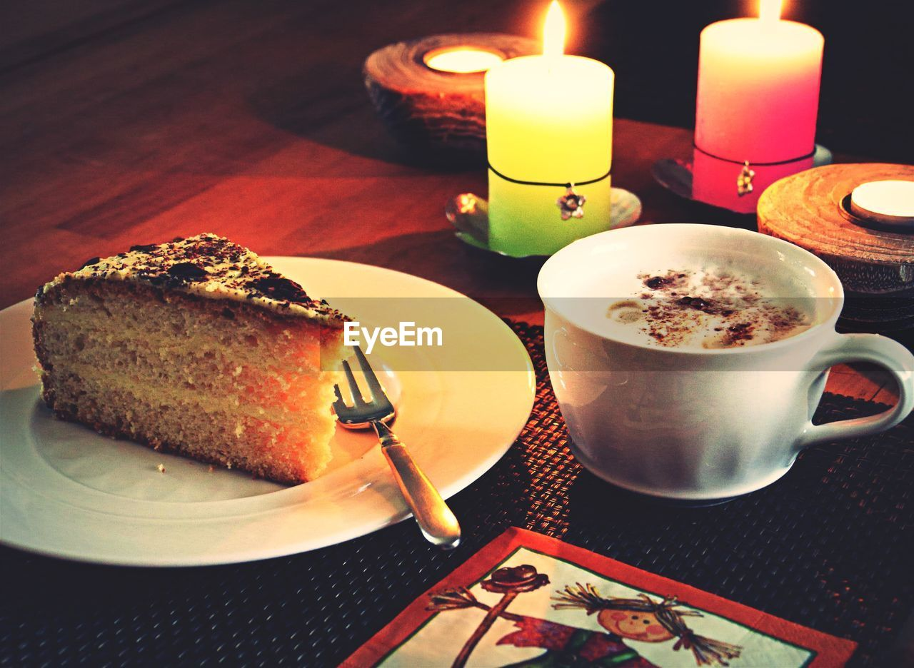 food and drink, table, indoors, plate, coffee cup, flame, food, candle, coffee - drink, freshness, refreshment, burning, cake, no people, drink, sweet food, close-up, temptation, ready-to-eat, day