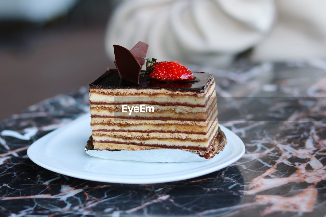 CLOSE-UP OF CAKE SLICE IN PLATE WITH CHOCOLATE