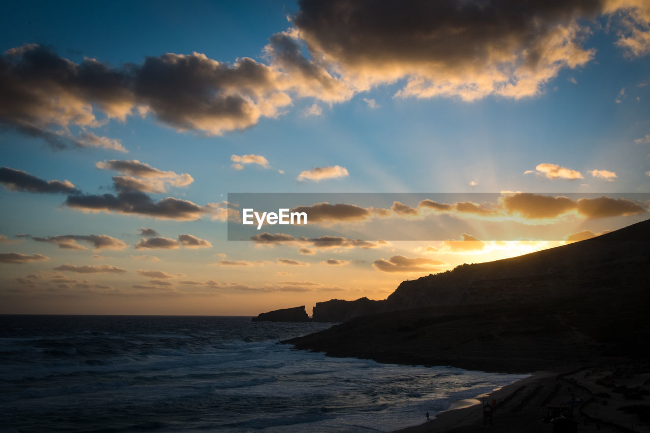 sky, sunset, water, sea, beauty in nature, scenics - nature, cloud - sky, land, beach, tranquility, tranquil scene, horizon over water, nature, idyllic, horizon, non-urban scene, outdoors, orange color, no people