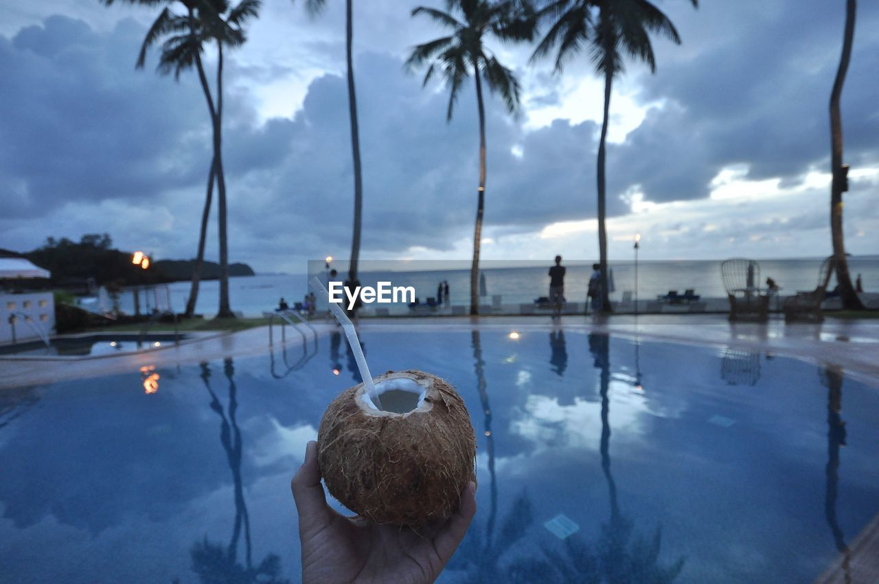 tree, water, one person, cloud - sky, real people, sky, reflection, plant, nature, leisure activity, lifestyles, swimming pool, palm tree, pool, headshot, tropical climate, portrait, unrecognizable person, outdoors, hand