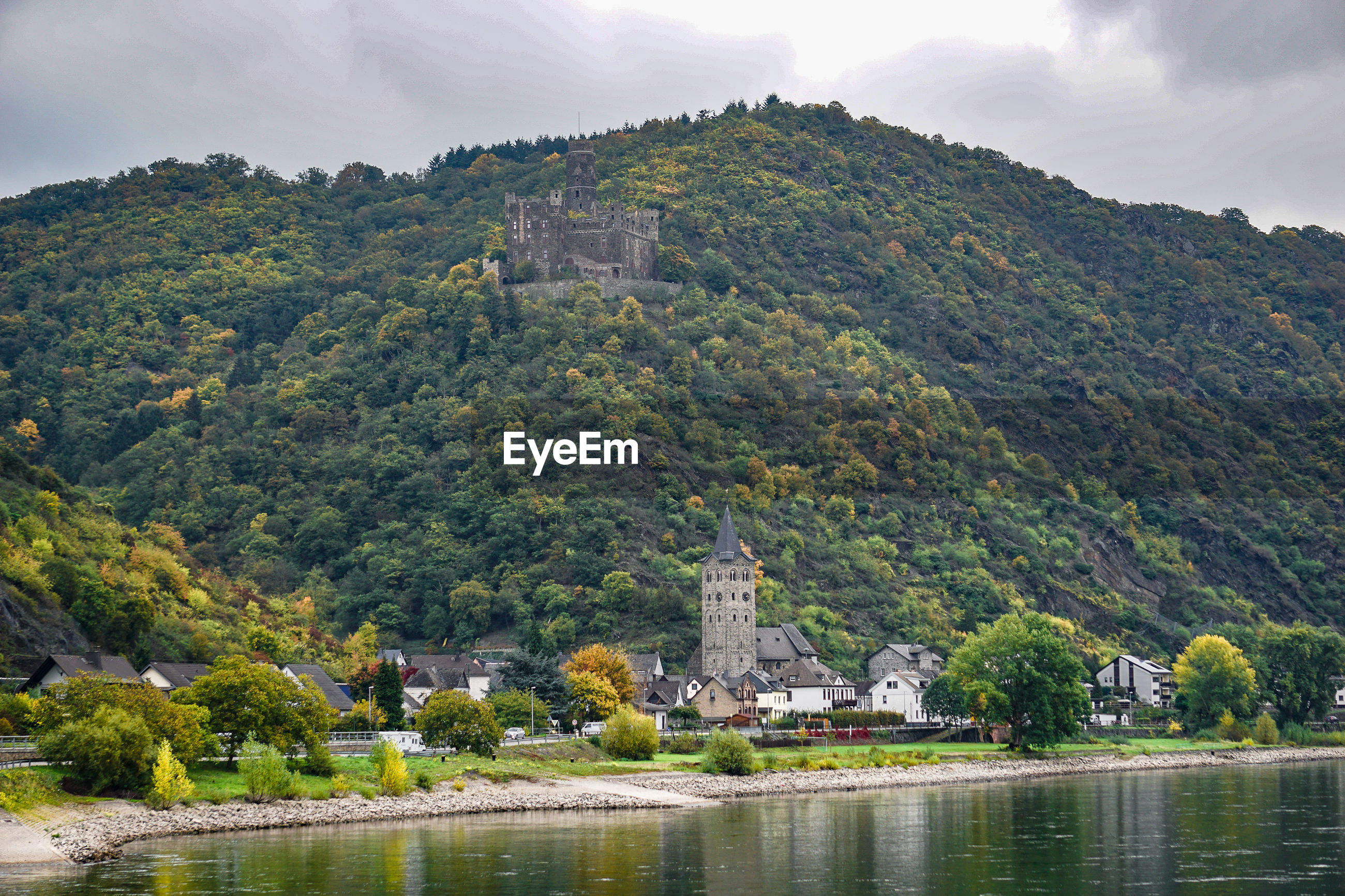 Mountain by river rhine