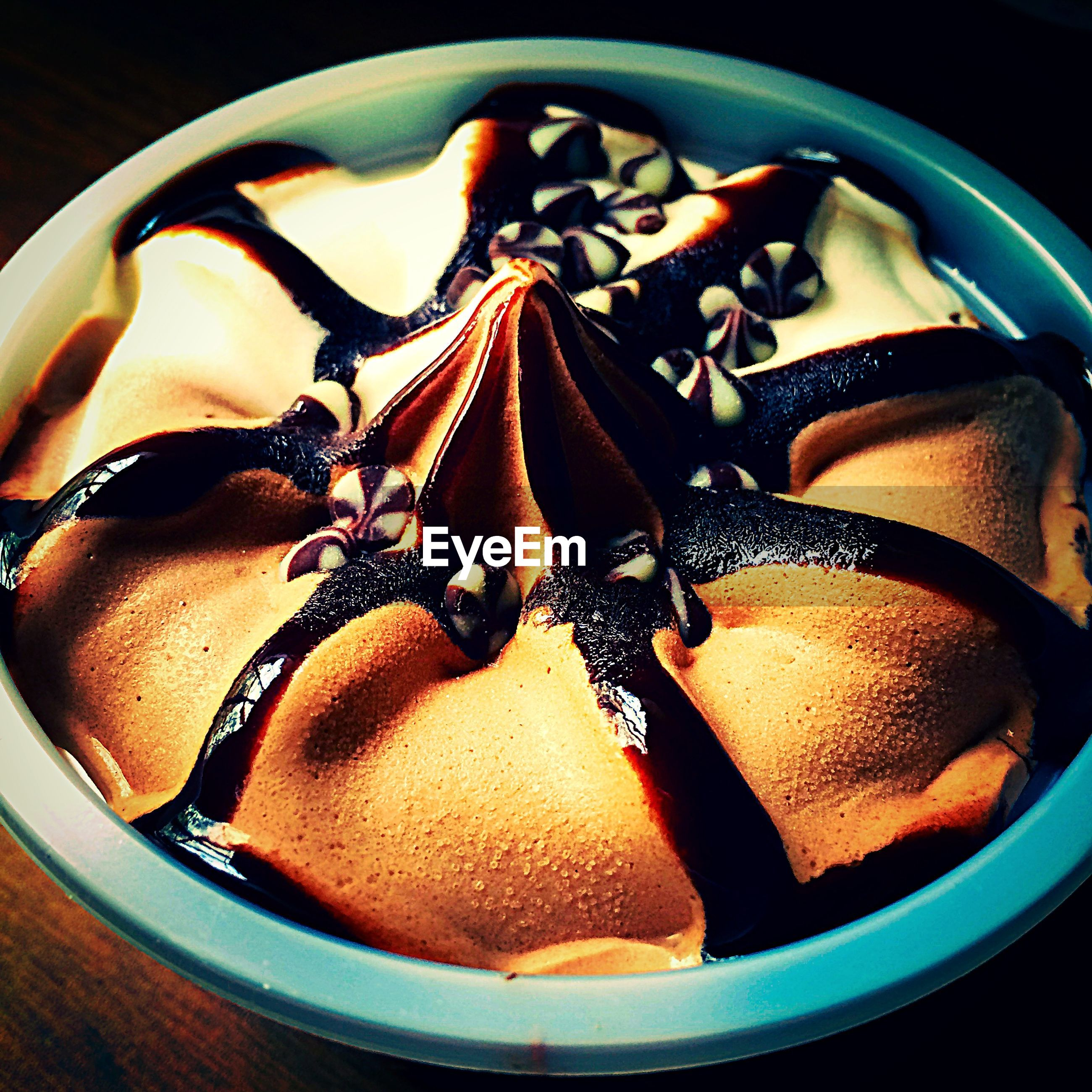 High angle view of ice cream in bowl