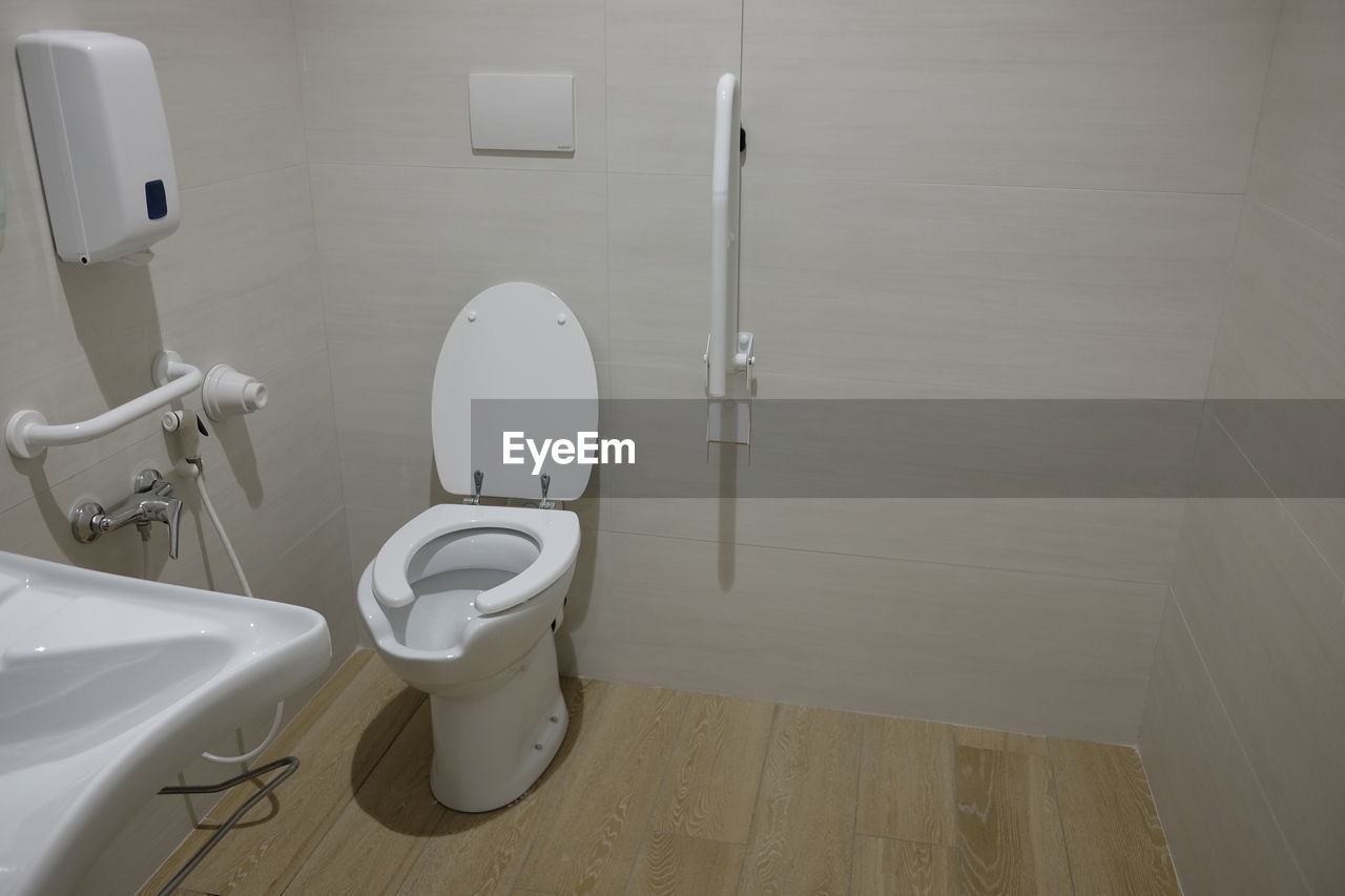 High angle view of bathroom