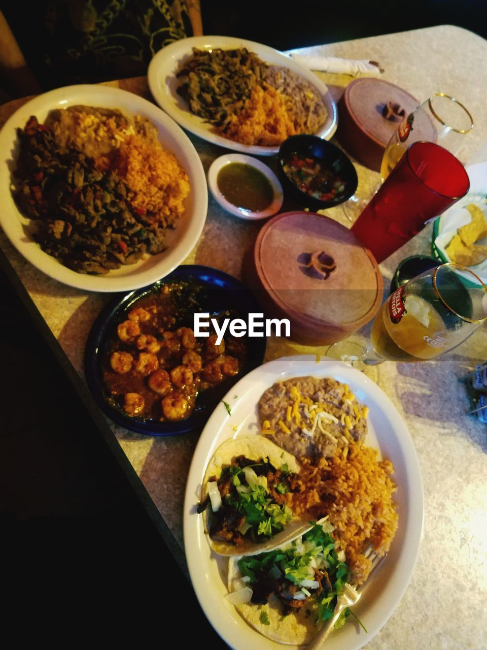 food, food and drink, ready-to-eat, healthy eating, table, indoors, bowl, serving size, plate, freshness, no people, high angle view, variation, vegetable, meal, meat, close-up, fried rice, day
