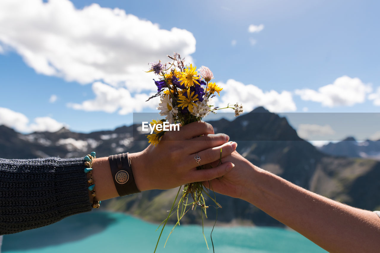 CLOSE-UP OF HAND HOLDING FLOWER AGAINST CLEAR SKY
