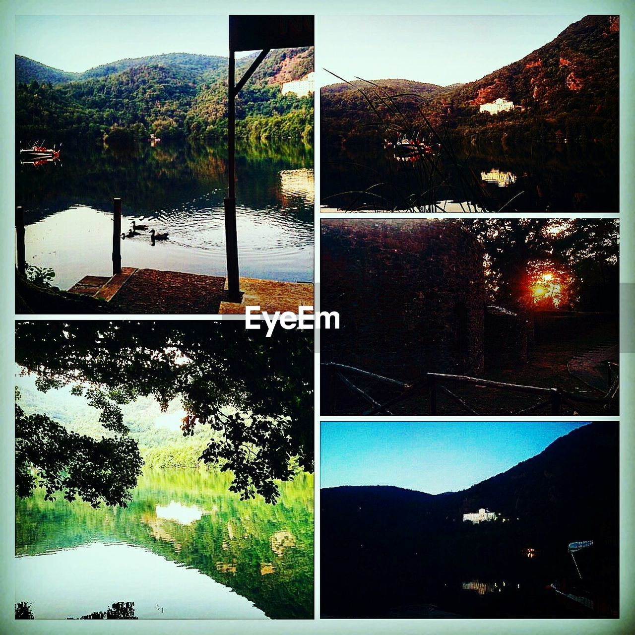 water, collage, tree, no people, nature, outdoors, lake, mountain, sky, beauty in nature, swimming pool, day, multiple image, close-up