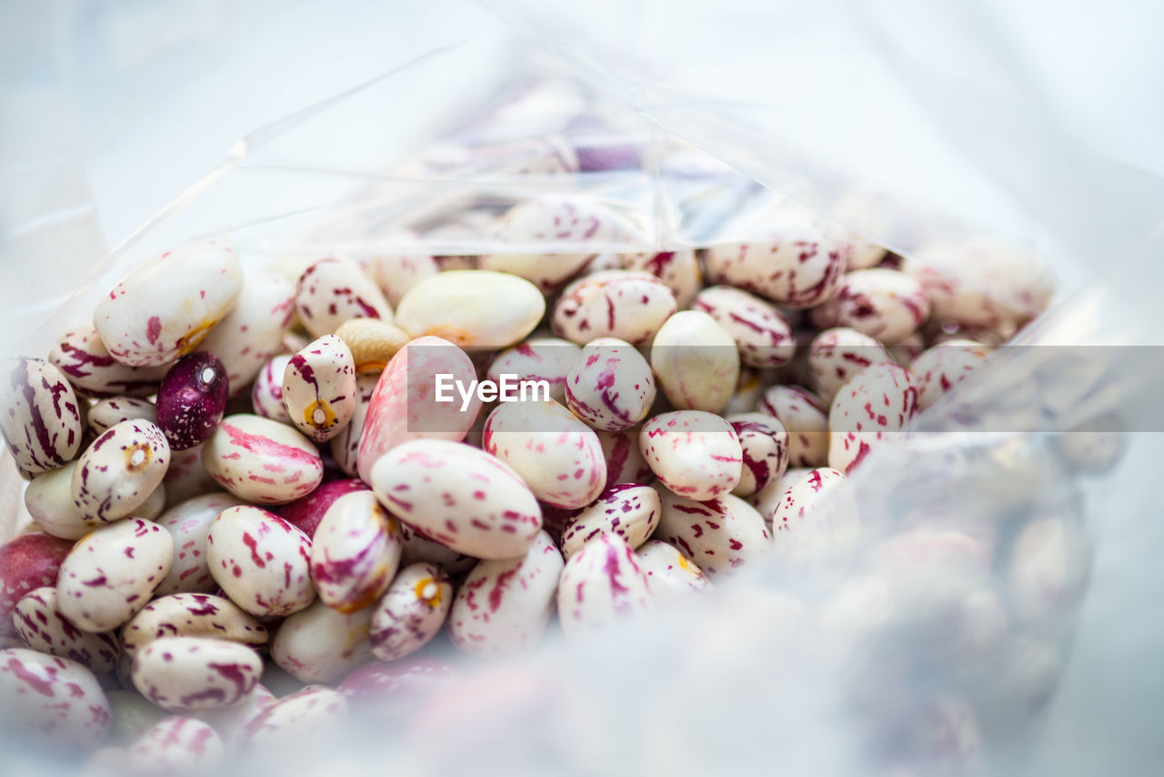 Cranberry beans in plastic