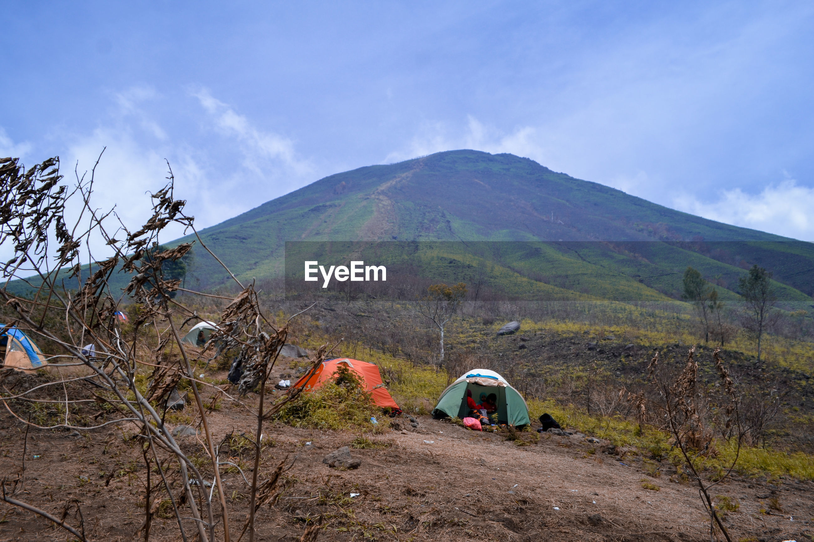 Tents on land against mountain