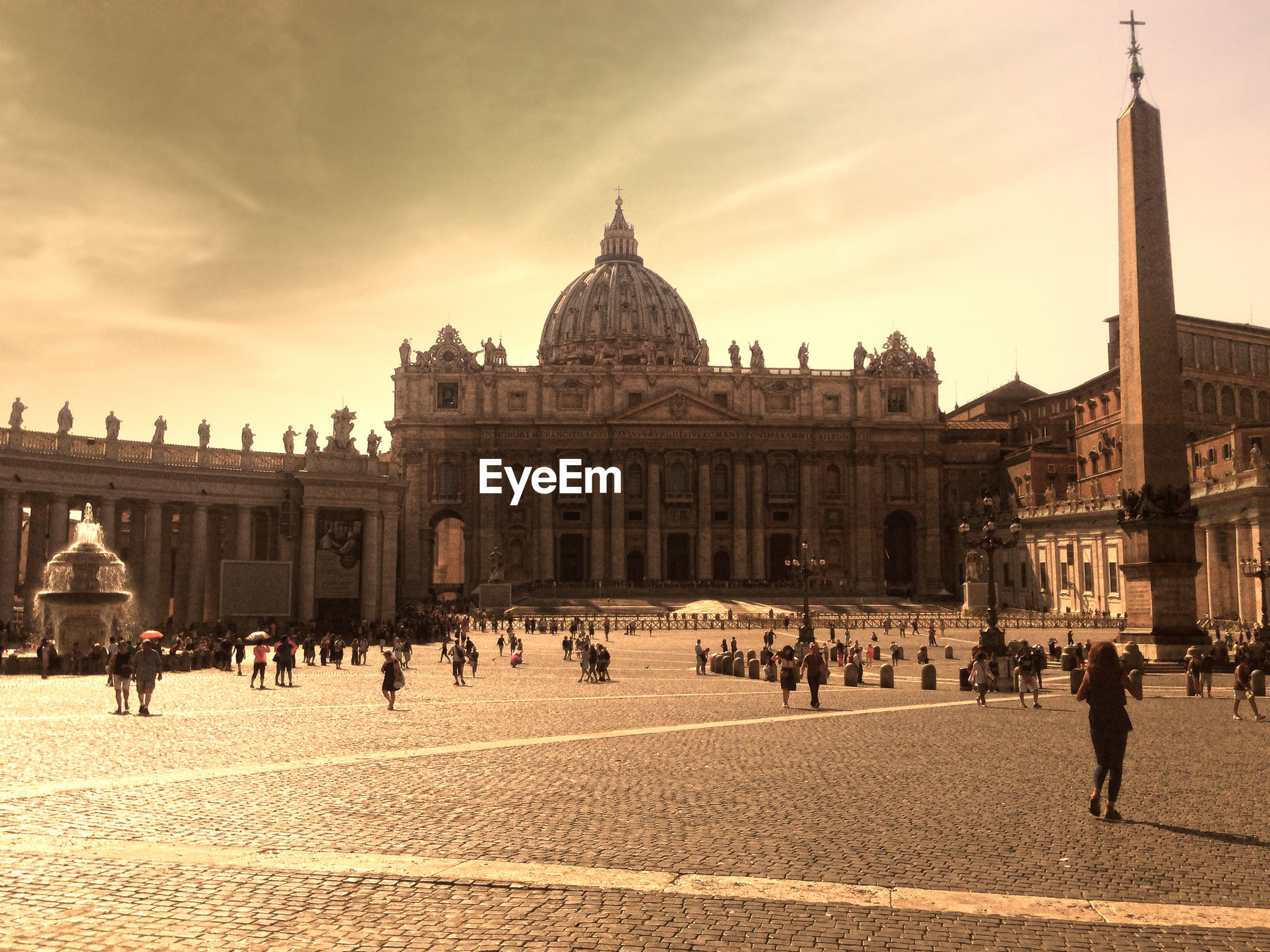Low angle view of st peter basilica against sky