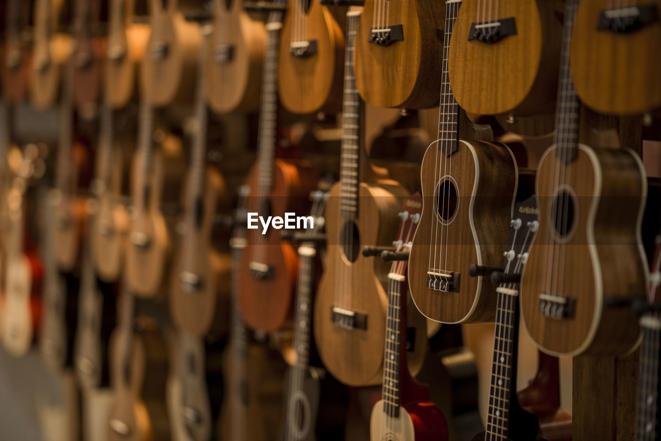 Close-up of guitars